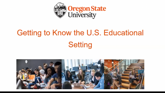 Title slide for getting to know the US educational setting