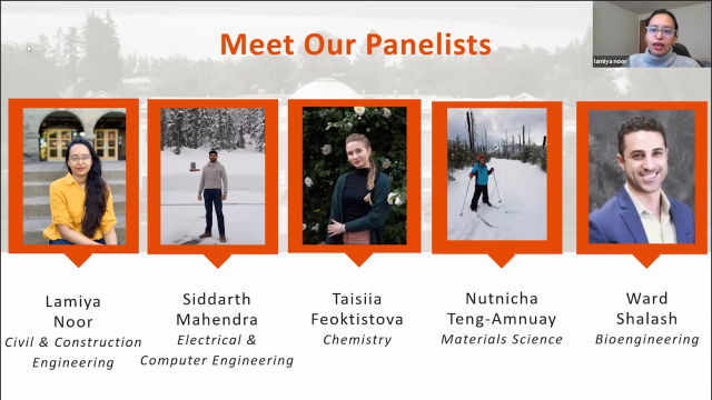 Slide showing the student panel participants